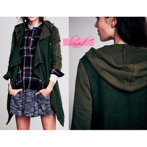 FP Drippy Wool Jacket Moss Olive Moto Distressed S